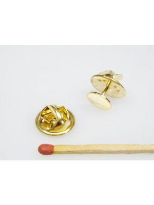 Verschluss Butterfly für Ansteck-Pins - goldfarben - 11 mm Ø - 6 mm dick